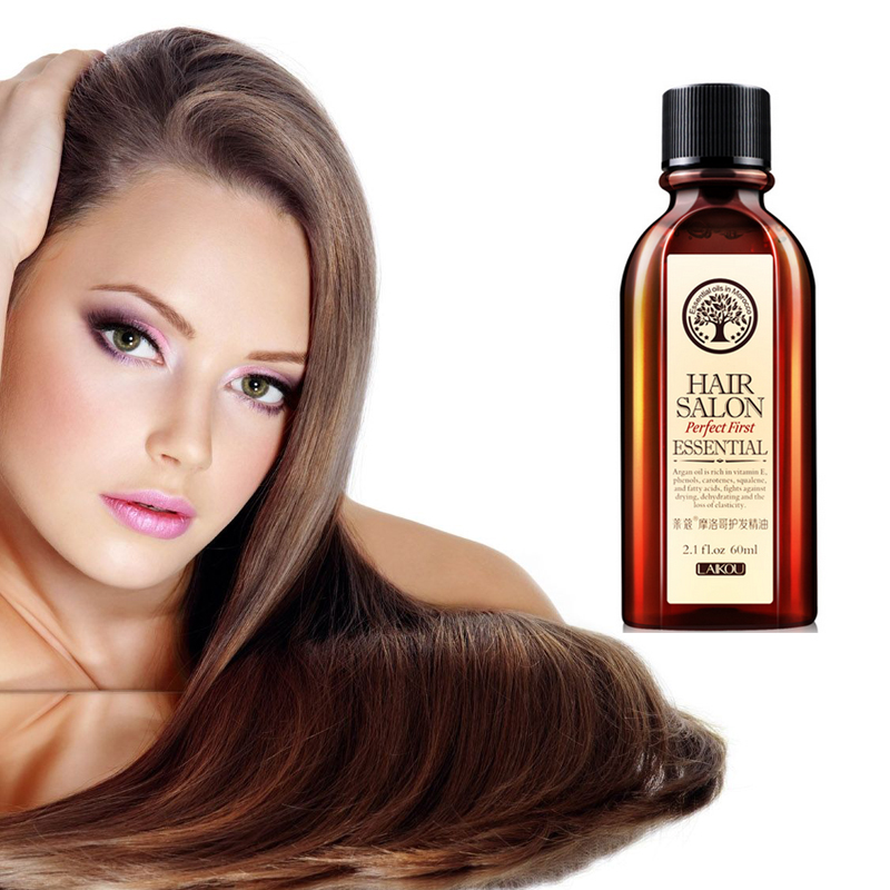 60ml Moroccan Pure Argan Oil Hair Essencen for Dry Hair More Smooth Natural Argan Oil for Modeling Repair Hair Care Product