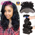 3Pcs Peruvian Virgin Hair With Lace Frontal Body Wave 8A Peruvian Virgin Hair With Closure Hanne Human Hair With Frontal Closure