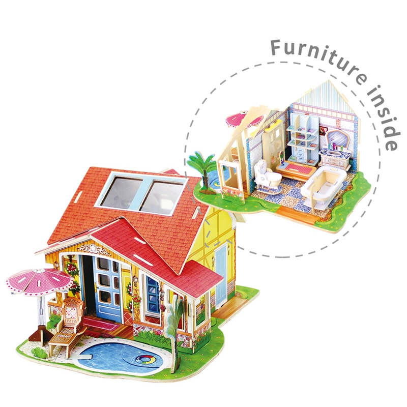 US $18 17 45% OFF|Robud Assembly Wooden Bathroom Miniature Doll House  Furniture Inside Toys Hobbies Model Building Kits Dollhouse for Children  56-in