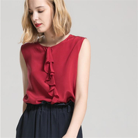 Woman Summer 100% Silk Shirts Female Thin Silk Blouse Lady Breathable Silk Tops Women Silk Tees Lady Soie Gilet Seda Vestimenta