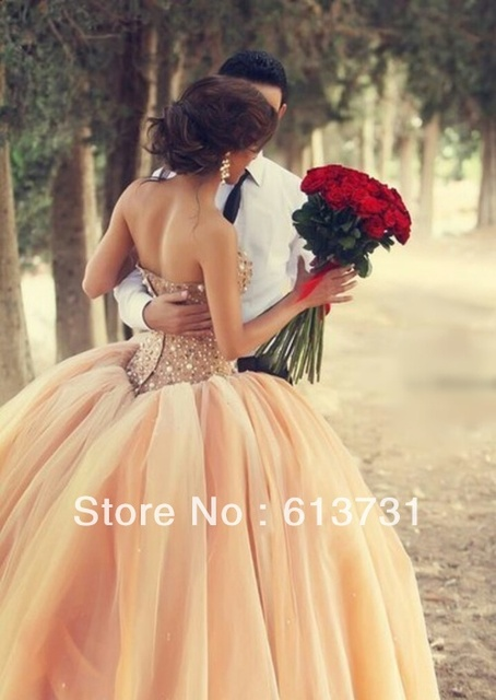 Vestido De Noiva 2014 New Arrival Amazing Sweetheart Crystal Ball Gowns Peach Wedding Dresses Free Shipping BO3544