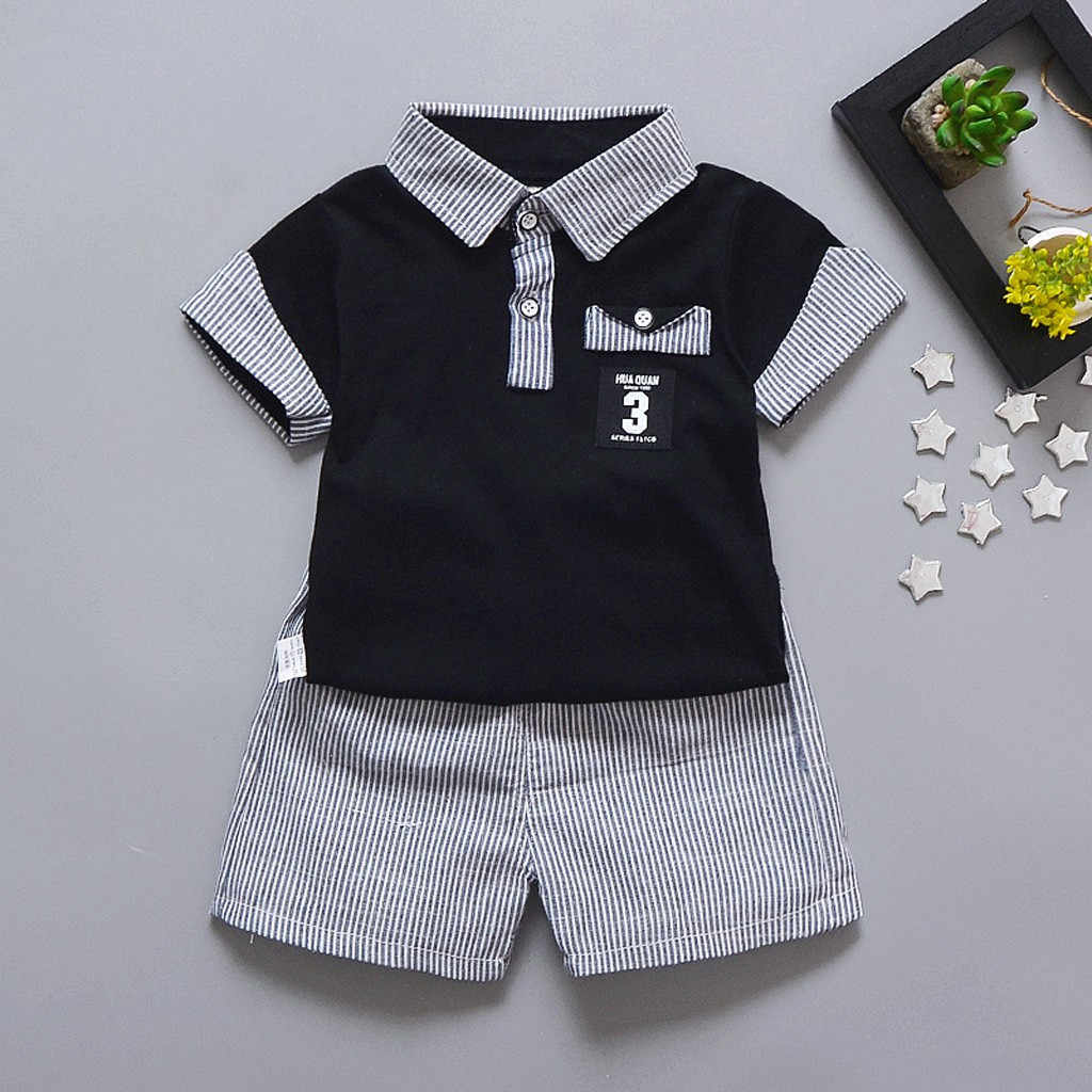 Toddler Baby Boys Gentleman T-shirt Tops Stripe Shorts Outfits Clothes Set kids clothes children clothes