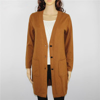 top quality 100%goat cashmere knit women's fashion long cardigan sweater coat single breasted V neck khaki brown 6colors S 4XL