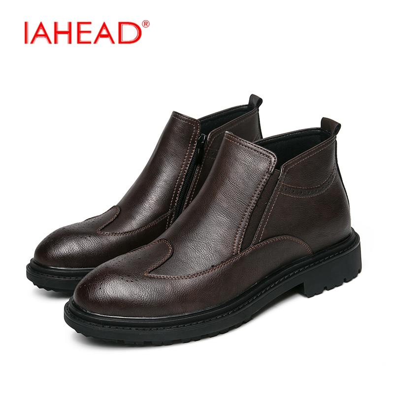 IAHEAD Men Boots Chelsea Boots Men Dress Shoes Cowboy Boots Mens Winter Footwear Shoes Leisure Boots MU510 my granny