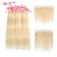 Много волос 613 светлые 13*4 Фронтальная застежка с пучки прямо бразильский волос не Реми кружева фронтальной с волос ткань 4 шт.