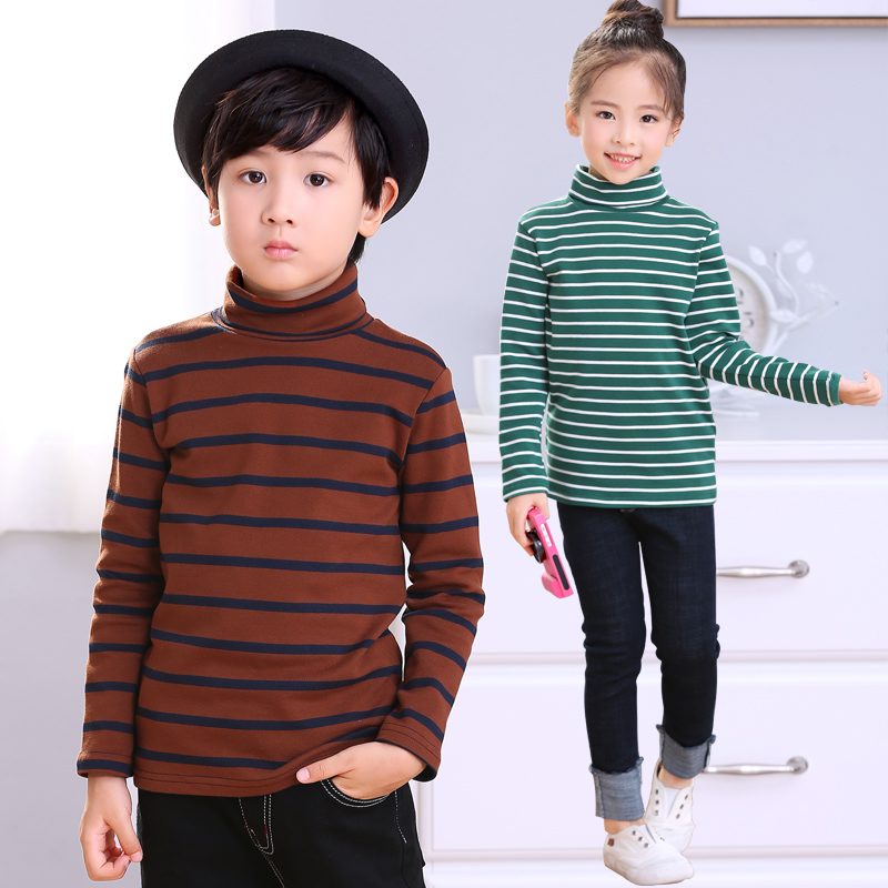 T-Shirts Kids Turtleneck Tops Teenage-Clothes Long-Sleeve Girls Autumn Boys Striped Cotton