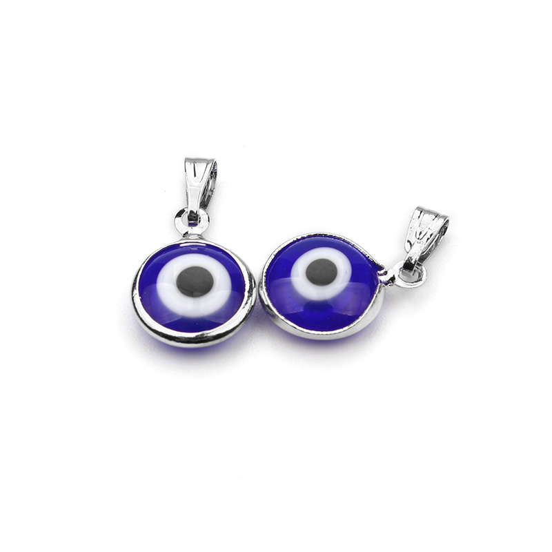 Jewelry & Accessories Earnest 10pcs/lot Alloy Metal Silver Resin Stone Blue Round Evil Eye Charms Pendants Diy Luckly Bracelet Necklace Jewelry Findings 11mm Top Watermelons