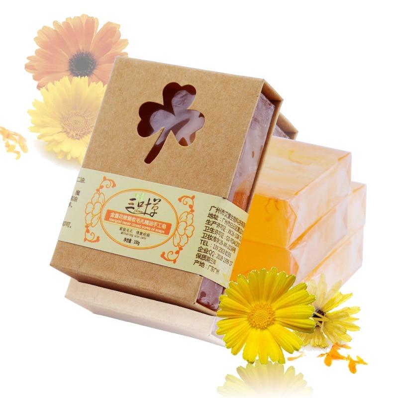100g Natural Herb Calendula Handmade Soap Repair Pore Anti Allergic Aromatherapy Soap Vegan Soap For Gift Keratosis Pilaris Soap