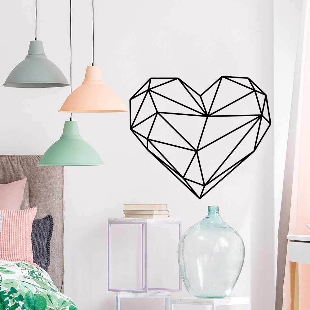 Beauty heart Environmental Protection Vinyl Stickers For Bedroom Nursery Decoration Kids Room Art Decals naklejki na sciane in Wall Stickers from Home Garden