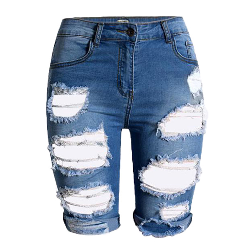 New Woman s Europe Style Half Ripped Jeans New High Waist Personality Fashion Street Hole Stretch
