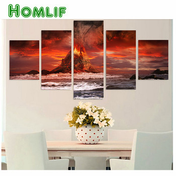 "DIY 5pcs/set,5d Diamond Painting""volcano Nature picture""full diamond Embroidery,3d Cross Stitch for living room decoration art"