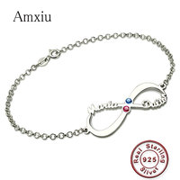 Amxiu Personalized 925 Sterling Silver Bracelet Custom Name Bracelet Engrave Two Names Bracelets with Birthstones Zircon Jewelry
