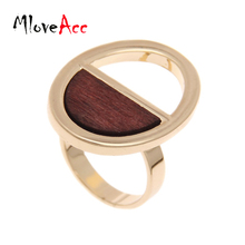 Vintage Punk Gold Plated Oval Long Ring Hollow Out Wood Jewelry Rings For Women Party Accessories