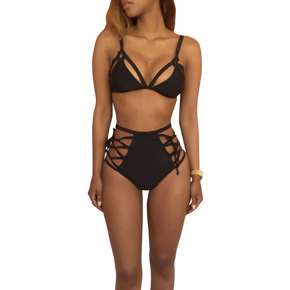 Frauen Bikini Sets Einfarbige Hohe Taille Damebadebekleidung Badeanzüge Sommer Strand Bandage Badeanzug neue