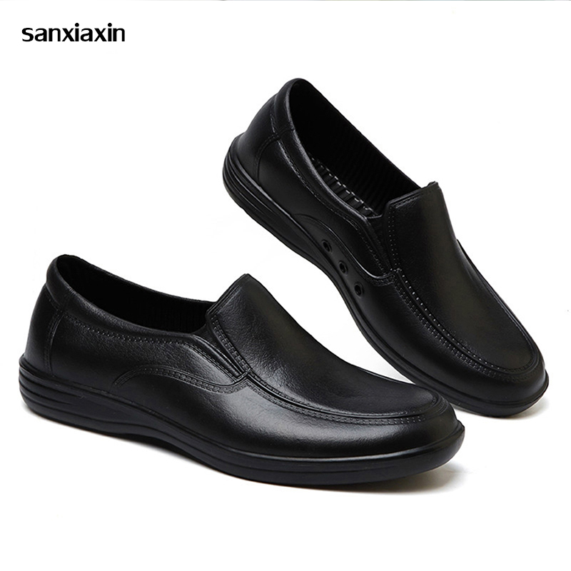 Professional Chef's Workwear Anti-slip Shoes Men Cook Shoes Safety Black Waiter Shoes Unisex Kitchen Canteen Waterproof Oilproof