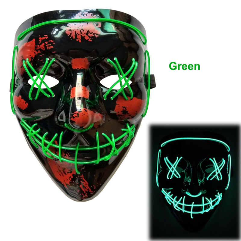 Led Neon Light Horror Halloween Masque Masquerade Party Mask Novelty DJ Party Light Up Masks In Dark AA Battery Power Mask Purge