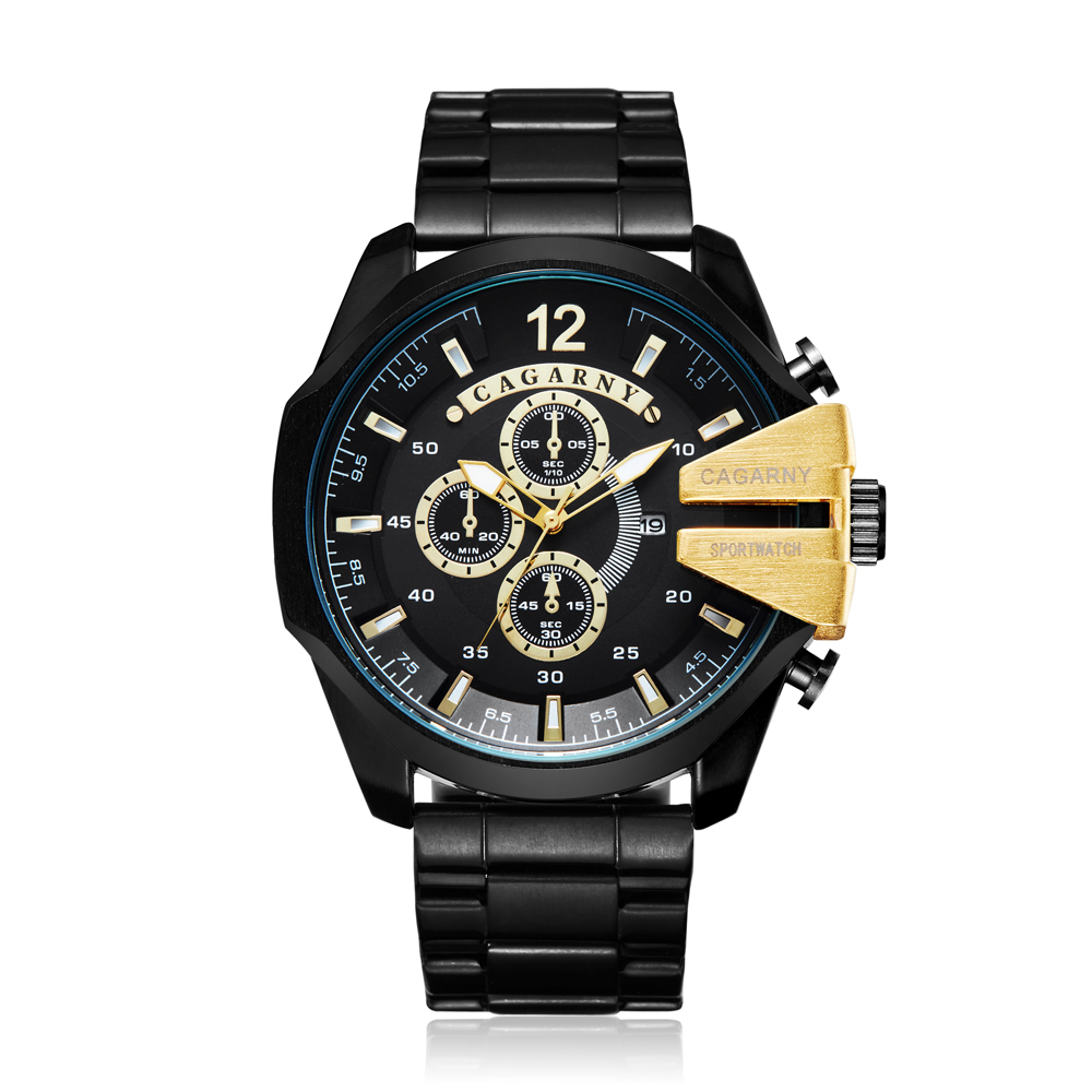 2019 Mens Watches Top Brand Luxury Cagarny Quartz Watch Men Gold Black Stainless Steel Man Business Male Clock relogio masculino2019 Mens Watches Top Brand Luxury Cagarny Quartz Watch Men Gold Black Stainless Steel Man Business Male Clock relogio masculino