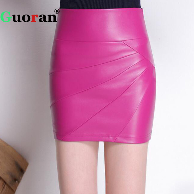 c623b00f24 {Guoran} Plus Size Stretch Women Mini Leather Pencil Pants Black Female  Stretch Vintage High Waist Office Skirt Bodycon Skirt