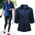 2016 ZANZEA Women Blouses Fashion Vintage Long Sleeve Lapel Denim Shirts Casual Pockets Tops Plus Size Oversized Blusas