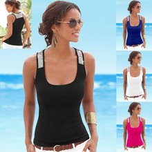 2XL 3XL Summer Tank Black White Sexy Tops Slim Casual Sleeveless O Neck Sequined Patchwork T Shirt Plus Size Women T Shirt Top