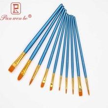 10 Pcs Nylon Hair Paint Brushes Art Brushes Pen Water Painting Brush Stationery Art Supplies