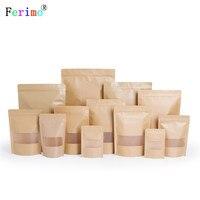 100pcs High end thickened windowed kraft paper bag 10 * 15cm gift snack bags self reliance self sealing bag custom