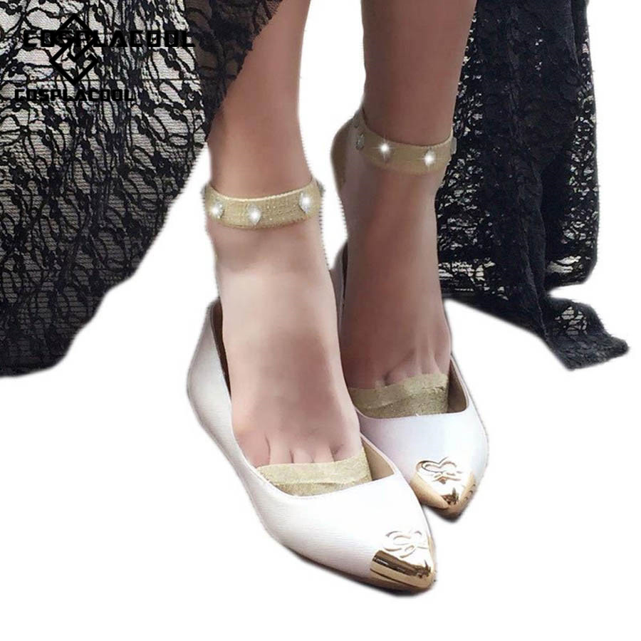 [COSPLACOOL]Fashion Glitter Mesh Lacework Diamond Crew Sokken Ultrathin Transparent Glass Shiny Silver Silk Harajuku Hosiery Sox