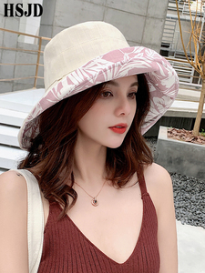Image 3 - Summer Women Double sided Flower Print Cotton Sun Hats Ladies Fashion Wide Brim Foldable Sun Bucket Hats Anti UV Beach Hat Caps