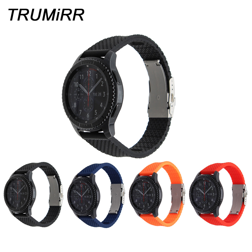 Silicone Rubber Watchband Quick Release 22mm for Samsung Gear S3 Classic Frontier Watch Band Safety Buckle Strap Wrist Bracelet цена