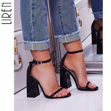 Liren 2019 Summer PU Fashion Square High Heel Sandals Solid Shallow Round Toe Buckle Green Black Cover Size 40