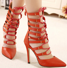 Shoes Women's Boots 2016 Sexy Cool Boots High-Heeled Nightclub Hollow Pointed Cross Lacing Fine With Sandals Pump Boots