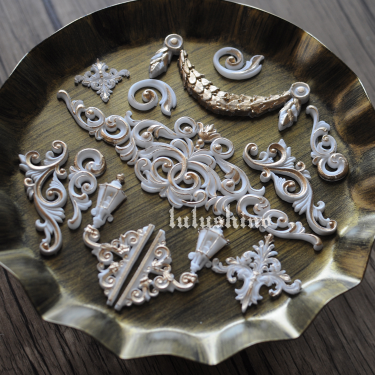 Sugar cake silica gel mould dry style mould component baroque decoration style