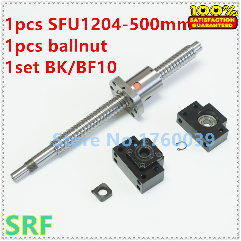 1set  12mm Rolled Ballscrew SFU1204 500mm  end  maching with ballnut+ 1set BK10 BF10 Ballscrews End Supports for CNC parts
