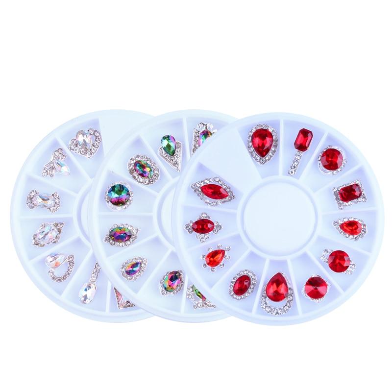 1 колесо камни для ногтей Кристаллы Стразы для ногтей (12 шт/колесо) алмазный камень драгоценные камни лак для ногтей УФ-Полировка камни и хру...