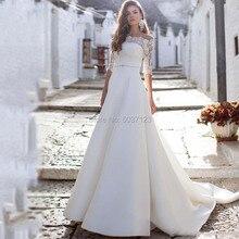 Lệch Vai Váy áo Ren Appliques Áo Dài Cô Dâu Cỡ Nửa Tay Triều Đình Đào Tạo Ảo Giác Vestidos De Noiva