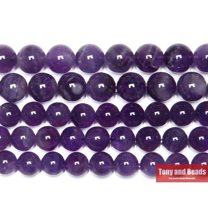 "Free Shipping AAAA Quality Natural Stone Purple Amethysts Crystals Round Loose Beads 15"" Strand 3 4 6 8 10 12MM Pick Size(China)"