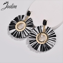 Joolim Jewelry Wholesale Black White Raffie Tassel Drop Earring Statement