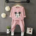 Baby Girl New Fashion Cartoon Letter Sweater For Kids Girl Cotton Casual Long Sleeve O-Neck Solid Pink Children Clothing Suit