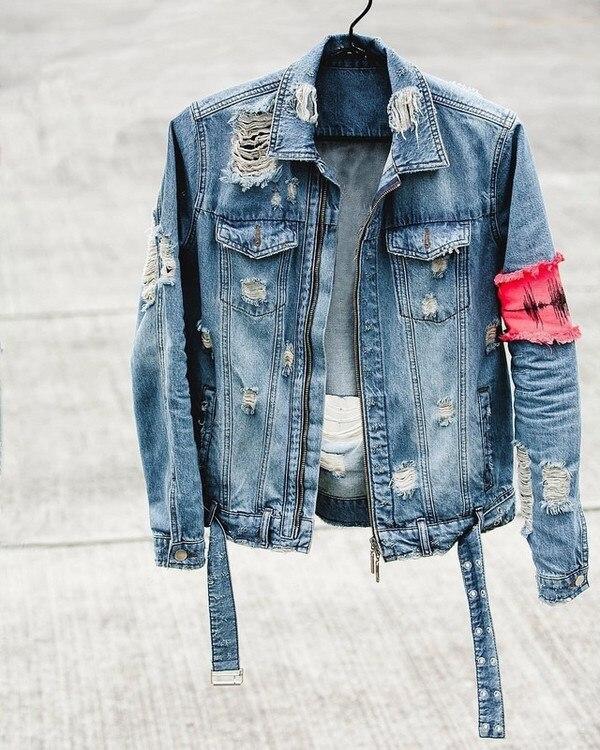 2019SS NUOVO TOP kanye west Classic rotto della chiusura lampo per la vecchia Giacca di Jeans Hip hop di grandi dimensioni bule nero dei jeans del foro giacche cappotti M-XXL