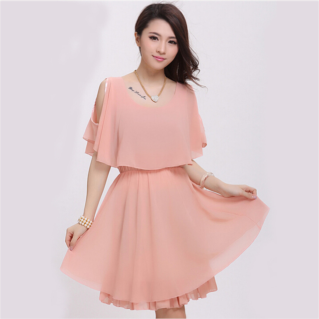 7b9559502b09 2017 New Chiffon Dress Women Summer Casual Faux Tiwnset Styles Girl Slim  Pink Dress Comfortable Lady vestidos S3391