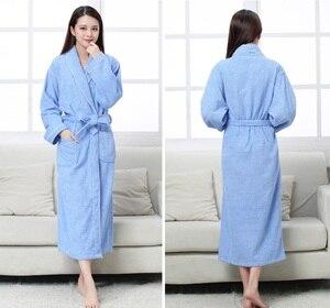 Image 2 - Халат хлопковый махровый для мужчин и женщин, всесезонный банный халат для пар, мягкая дышащая впитывающая одежда для сна, ночная рубашка