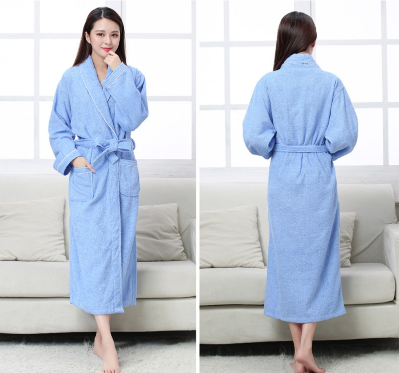 Image 2 - Women Men Cotton Terry BathRobes all seasons couple Robe hotel bathrobe soft breathable absorbent sleepwear Night gown hombre-in Robes from Underwear & Sleepwears