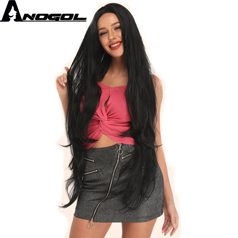 Anogol High Temperature Fiber Peruca Cabelo 360 Long Natural Wave Full Synthetic Lace Front Hair Wigs For Black Women
