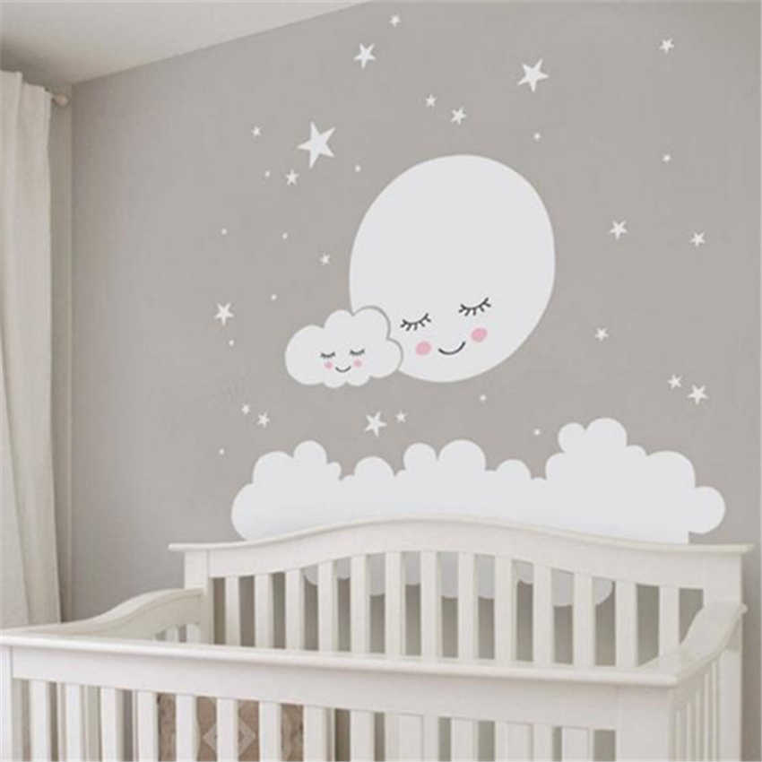 Moon stars Wall Decal Cloud Nursery Wall Stickers For kids Room Decal Nursery Art Home Decor girls decorative vinyl babies