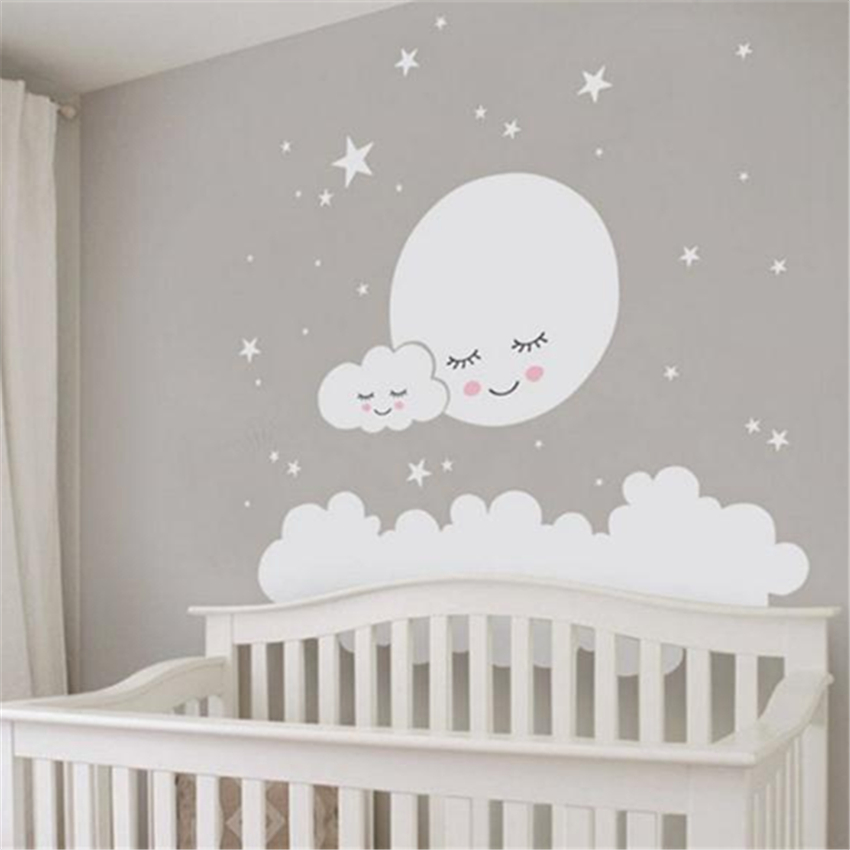 Mond sterne Wand Aufkleber Cloud Kindergarten Wand Aufkleber Für kinder Zimmer Aufkleber Kindergarten Kunst Wohnkultur mädchen dekorative vinyl babys