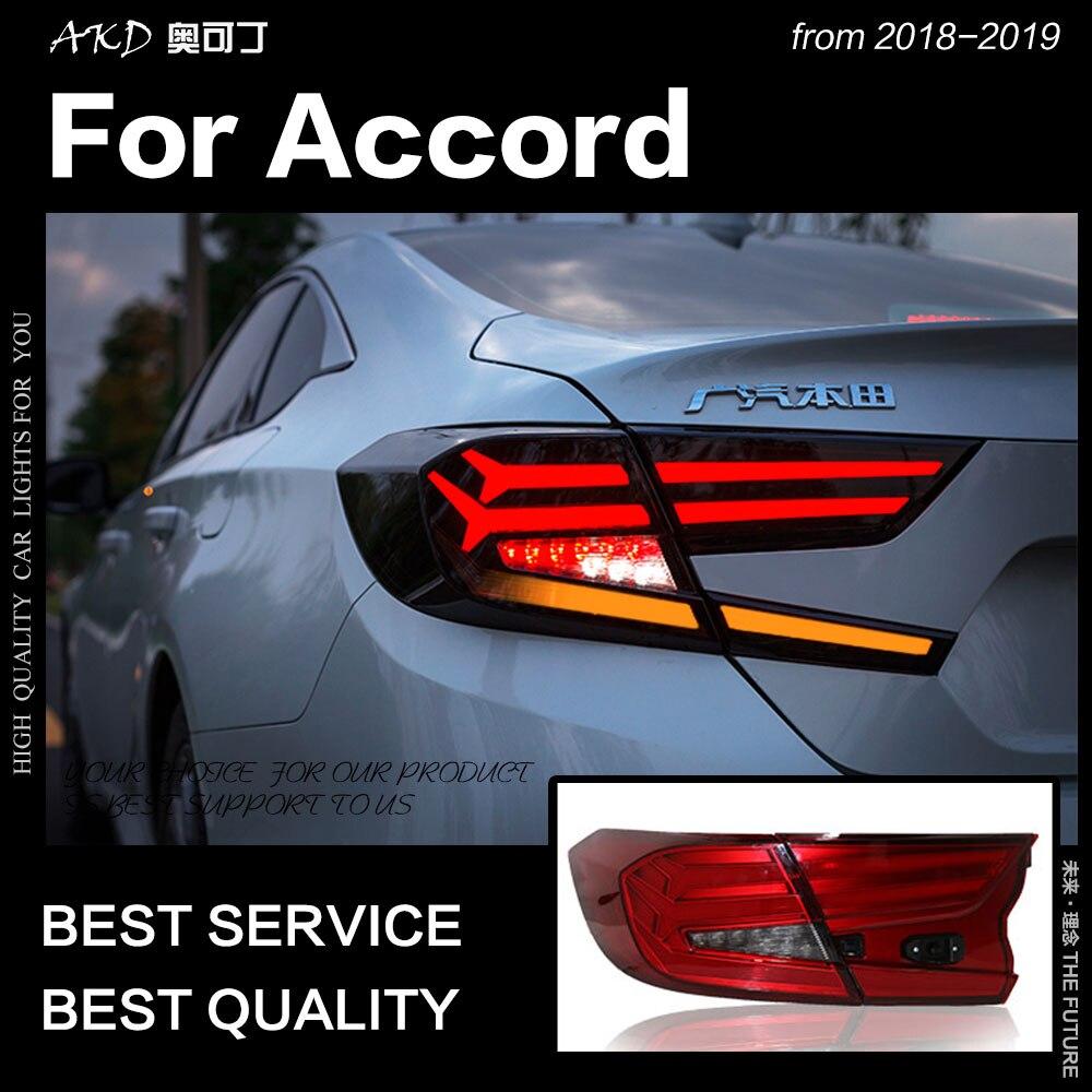 AKD Estilo Do Carro para Accord Tail Lights 2018-2019 Novo Accord LEVOU Cauda Lâmpada Traseira Da Lâmpada DRL Sinal de Freio reversa auto Acessórios