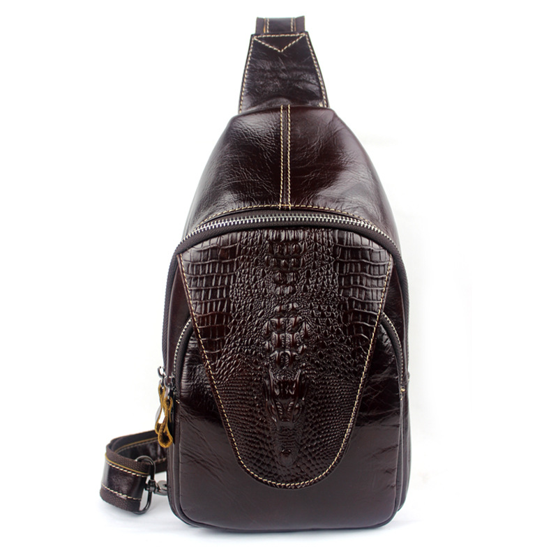 Fashion new Europe and the United States soft Cowhide men bags Genuine Leather crocodile embossed cover men's chest bag aetoo new men fashion europe and the united states tide chest bag genuine leather first layer of leather messenger bag men
