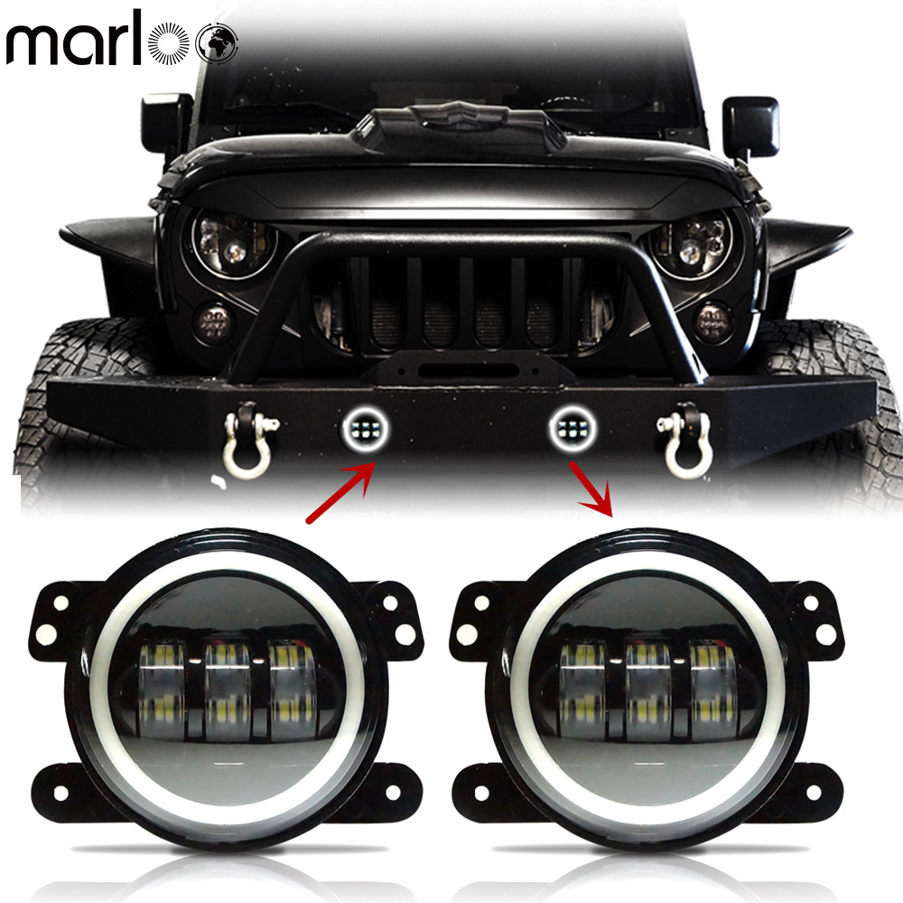 Marloo 4 Inch Wrangler Projector Led Fog Lights White Halo Ring For Chrysler Dodge Jeep Cherokee Wrangler Front Bumper Light marloo 4 inch amber yellow led fog lights for jeep wrangler jk tj lj tractor boat fog off road lamps front bumper fog light