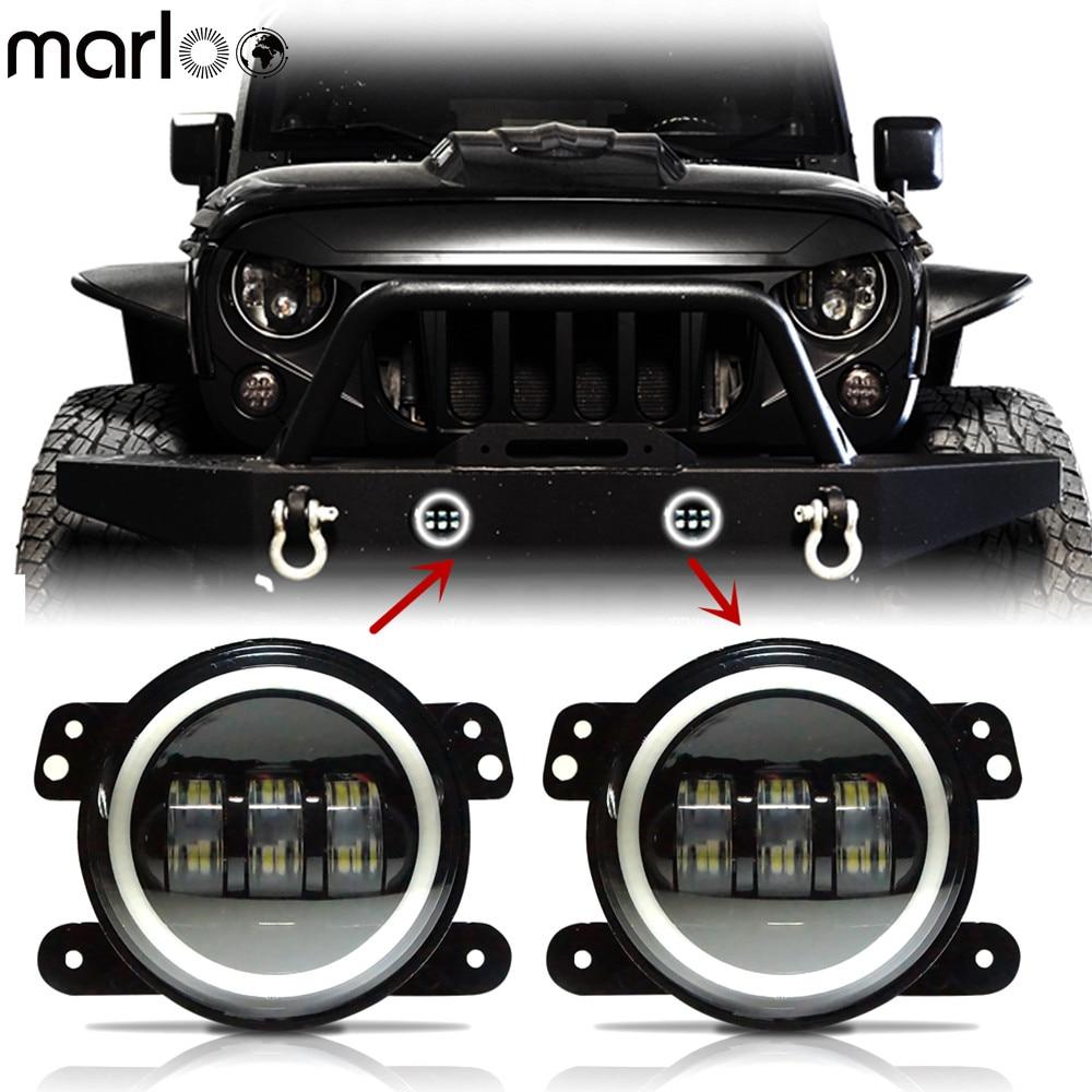 Marloo 4 Inch Wrangler Projector Led Fog Lights White Halo Ring For Chrysler Dodge Jeep Cherokee Wrangler Front Bumper Light