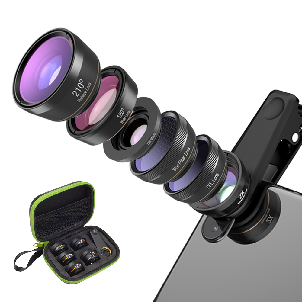 APEXEL 6in1 Camera Lens Kit Photographer Mobile Phone Lenses Macro Wide Angle Fish Eye CPL Filter for iphone X 7 8 Xiaomi mi8 mobile phone